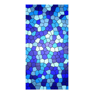 Shades Of Blue Stained Glass Photo Card