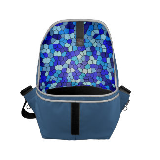 Shades Of Blue Stained Glass Small Messenger Bag