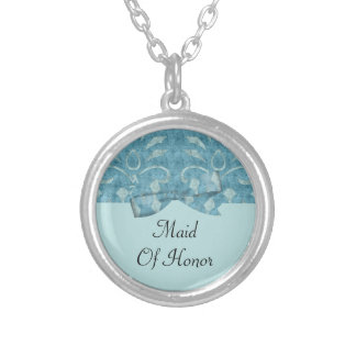 Shades Of Blue Velvet Look Wedding Silver Plated Necklace