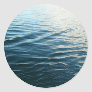 Shades of Blue Water Abstract Nature Photography Classic Round Sticker