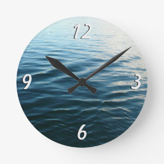 Shades of Blue Water Abstract Nature Photography Round Clock