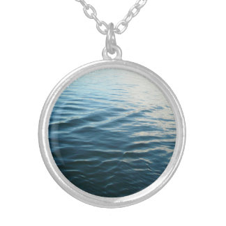 Shades of Blue Water Abstract Nature Photography Round Pendant Necklace