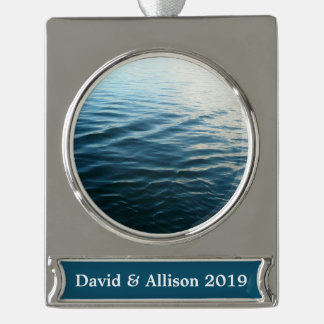 Shades of Blue Water Abstract Nature Photography Silver Plated Banner Ornament