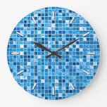 Shades Of Blue 'Watery' Mosaic Tiles Pattern Large Clock