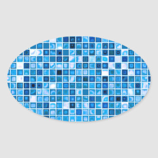 Shades Of Blue 'Watery' Mosaic Tiles Pattern Oval Sticker