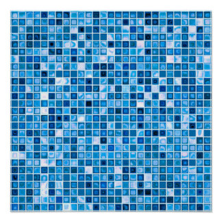 Shades Of Blue 'Watery' Mosaic Tiles Pattern Poster