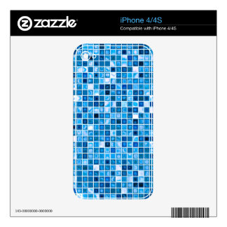 Shades Of Blue 'Watery' Mosaic Tiles Pattern Decals For The iPhone 4S