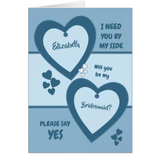 Shades of blue Wedding Bridesmaid Card