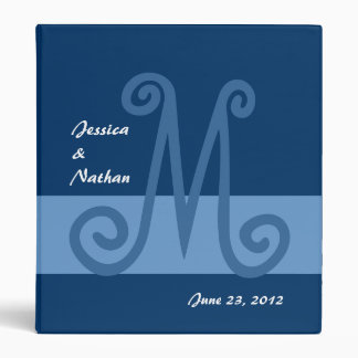 Shades of Blue Wedding Planner Monogram Binder