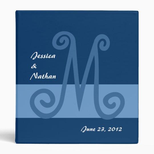 Shades of Blue Wedding Planner Monogram Binder