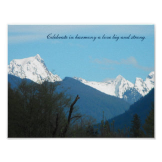 Shades of blue with snow capped mountain poster