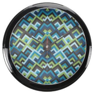 Shades of Blue Zigzag Symmetric Peeks Pattern Fish Tank Clock