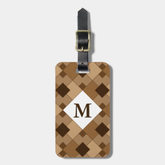 Shades of Brown Argyle Pattern Monogram Luggage Tag