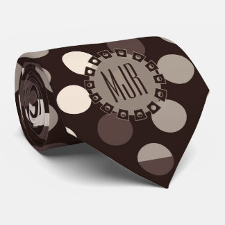 Shades of Brown Bold Polka Dots Monogram Neck Tie