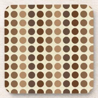 Shades of Brown Polka Dots by Shirley Taylor Beverage Coaster