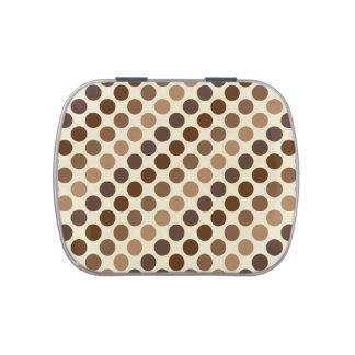 Shades Of Brown Polka Dots Candy Tin