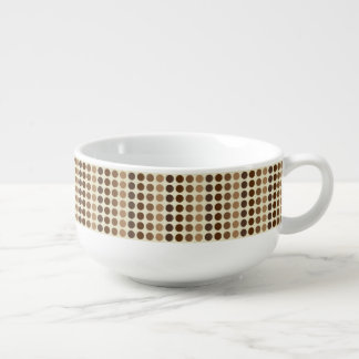Shades Of Brown Polka Dots Soup Bowl With Handle