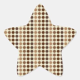 Shades Of Brown Polka Dots Star Sticker