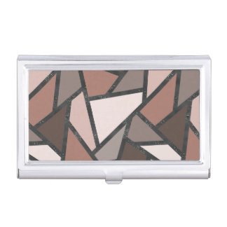 Shades of brown stained glass pattern business card case
