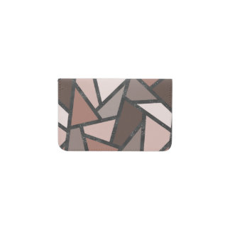 Shades of brown stained glass pattern business card holder