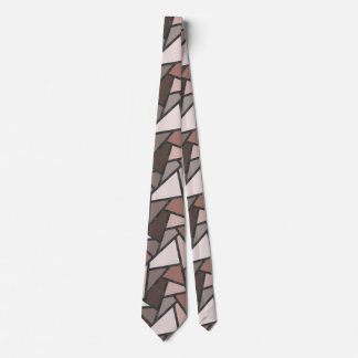 Shades of brown stained glass pattern neck tie