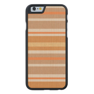 Shades of Burnt Orange and White Linen Look Stripe Carved® Maple iPhone 6 Case