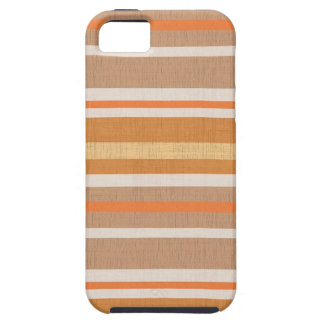 Shades of Burnt Orange and White Linen Look Stripe iPhone SE/5/5s Case
