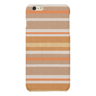 Shades of Burnt Orange and White Linen Look Stripe Matte iPhone 6 Plus Case