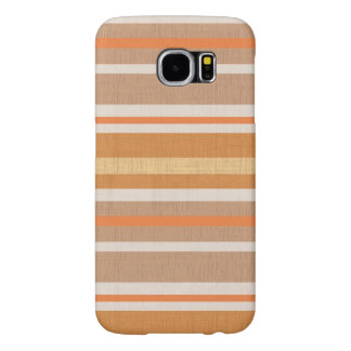 Shades of Burnt Orange and White Linen Look Stripe Samsung Galaxy S6 Cases