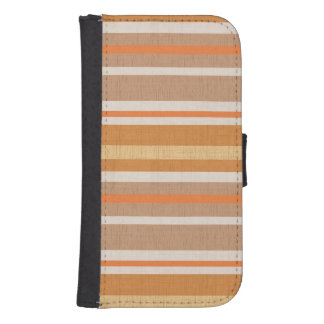 Shades of Burnt Orange and White Linen Look Stripe Wallet Phone Case For Samsung Galaxy S4