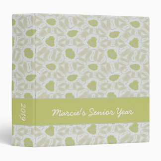 Shades of Chartreuse Green Retro Floral Pattern 3 Ring Binder