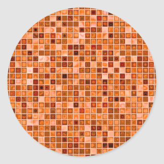 Shades Of Copper 'Watery' Mosaic Tile Pattern Classic Round Sticker