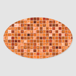 Shades Of Copper 'Watery' Mosaic Tile Pattern Oval Sticker