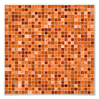 Shades Of Copper 'Watery' Mosaic Tile Pattern Photo Art