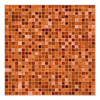 Shades Of Copper 'Watery' Mosaic Tile Pattern Poster