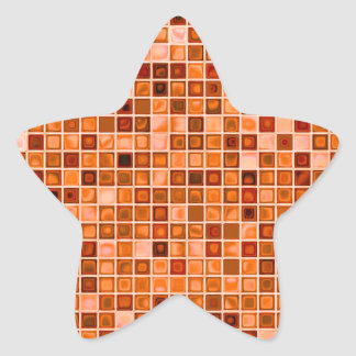 Shades Of Copper 'Watery' Mosaic Tile Pattern Star Sticker