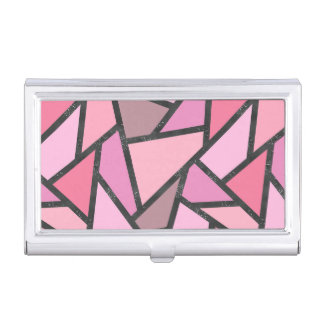 Shades of coral stained glass pattern business card case