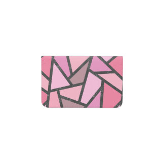 Shades of coral stained glass pattern business card holder