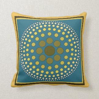 Shades of Dots Gold and Blue Pillow