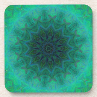 Shades of Emerald Green Mandala Pattern Drink Coaster