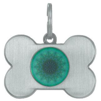 Shades of Emerald Green Mandala Pattern Pet Name Tag