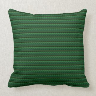 Shades of Forest Green Braid Print Throw Pillow