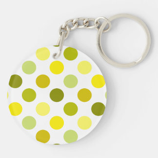 Shades of Gold and Yellow Polka Dots Double-Sided Round Acrylic Keychain
