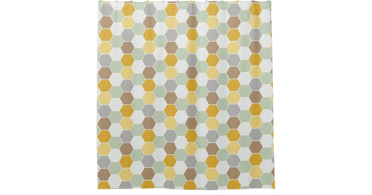 Shades Of Gold White Gray Honeycomb Pattern Shower