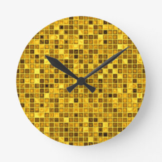 Shades Of Goldenrod 'Watery' Mosaic Tiles Pattern Clock