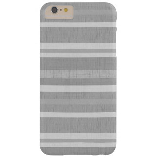 Shades of Gray and White Linen Look Stripes Barely There iPhone 6 Plus Case