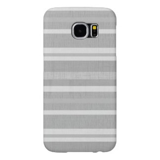Shades of Gray and White Linen Look Stripes Samsung Galaxy S6 Cases