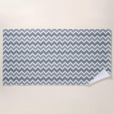 Beach Themed Shades of Gray Chevron Striped Beach Towel