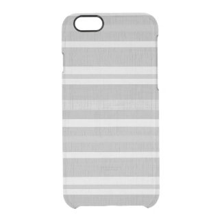 Shades of Gray Silver White Linen Look Stripes Clear iPhone 6/6S Case