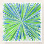 [ Thumbnail: Shades of Green and Blue Line Burst Pattern Coaster ]